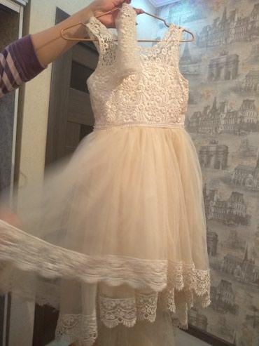 Бежевое платье с перчатками  в Бишкек