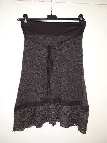 Trikotazna-pamuk - Srbija: Interesantna trikotazna suknja,tamno braon,postavljena,sa pamucnim
