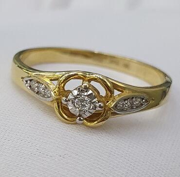 Кольцо из желтого золота, 585 проба. Вставка бриллиант. Размер 18
