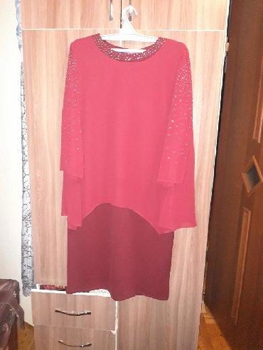 шуба до колени в Кыргызстан: Платье бордового цвета до колен Размер 50 на женщину Турция новое с эт