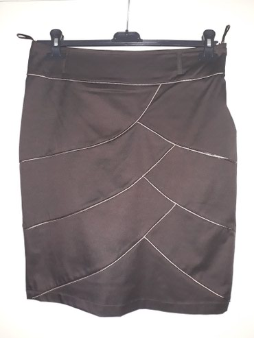 Suknja-hm-pamuk-elastin-cm-struk - Srbija: Elegantna braon suknja,duz.55 cm,struk 43 cm