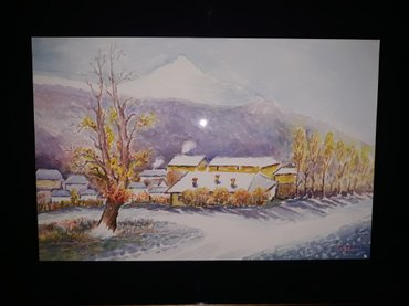 Akvarel slika-zima-placeni ptt troskovi - Nis