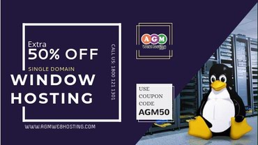Get Extra Flat 50% Off on Single Domain Window Hosting Plan - AGM Web in Kathmandu