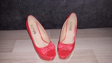 Crvene sandale na platformi, slabo korišćene, broj 38. - Nis