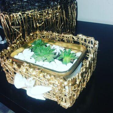 Kućni dekor - Mladenovac: Ručna izrada korpica sa čuvarkućom. Ostale moje radove možete