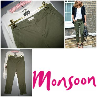 *** MONSOON **** maslinasto zelene - 36  Pantalone brenda Monsoon. - Beograd