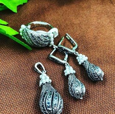 Набор с напылением серебра,925 пробы, декорация с жемчугом в Бишкек