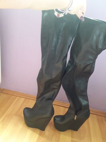 Cizme 36 broj - Srbija: Atraktivne cizme iznad kolena br 36,za usku nogu,nikad nosene potpuno