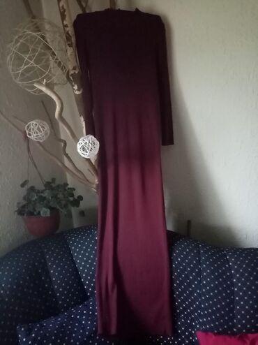 Maksi, duga haljina od rebrastog pamuka, burgundi boja. Mnogo lepša