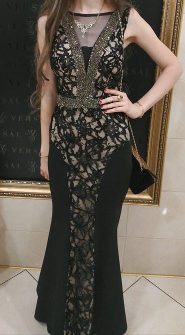 Чёрное платье со шлейфом в Бишкек