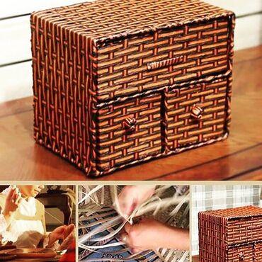 Изящный плетеный бамбуковый мини #Комод (#комодик) ручной работы с мет