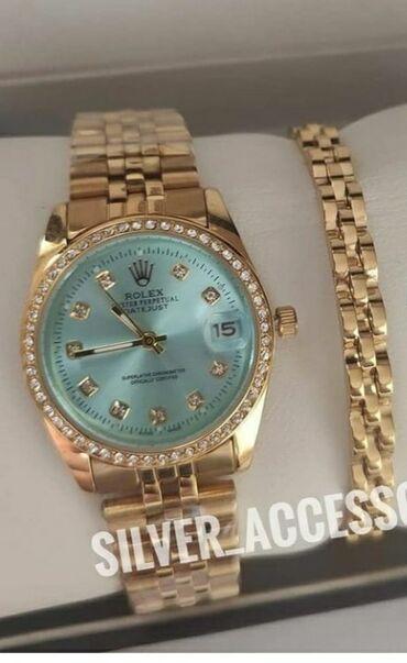 Qızılı Qadın Qol saatları Rolex
