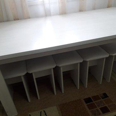 стол и стулья румыния в Кыргызстан: Стол кухонный новый не Б/У 185×90 +5 стульев мягкие обивки экокожей КР