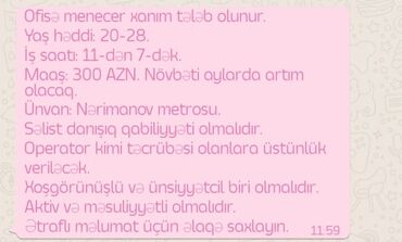 5 elan | İŞ: Ofis menecer. 1 ildən az təcrübə. İstirahət günləri iş