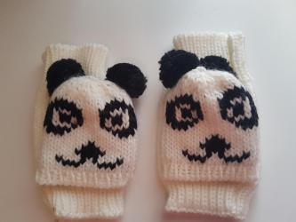 Carape sa prstima - Srbija: Nove dečije rukavice sa pandama, nenošene preslatke štrikane rukavice