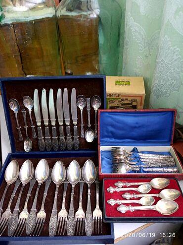Коллекционные ложки в Кыргызстан: Продаю советские посуды из мельхиора. Набор по 6шт. Вилки, ножи