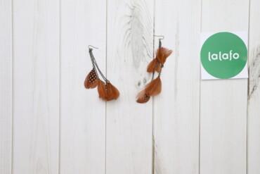 Жіночі коричневі сережки-пір'я     Довжина: 12 см   Стан гарний