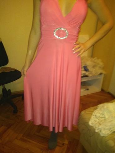 Svečana duga roza haljina  m l vel. VISKOZA. vrhunska. - Boljevac