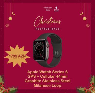 apple 4 s - Azərbaycan: Apple Watch Series 6 GPS + Cellular 44mm Graphite Stainless Steel Blac