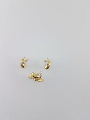 """Комплект """"ножки младенца"""" из жёлтого золота 585. размер кольца 17. 5 в Бишкек"""