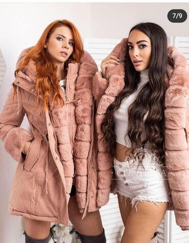 Tople zimske jakne sa krznom u rozoj boji snižena cenaza još slika u