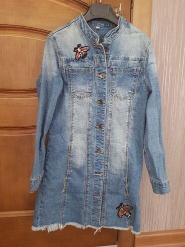 Удлинённая джинсовая курточка примерно на 9-10лет