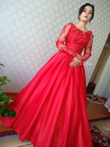узбекские платья со штанами в Кыргызстан: Красное свадебное платье