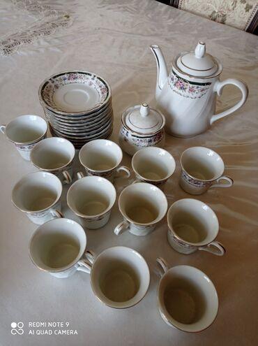 Чайный сервиз. 12 персон. 12 чашек с блюдцами, чайник, сахарница