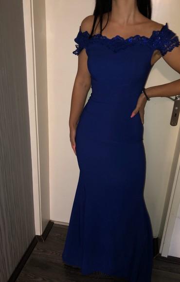 Plava elegantna haljina,jednom nosena - Razanj