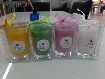 Стеклянные свечи. С запахами. 1Океан 2Апельсина 3ванилина 4 манго