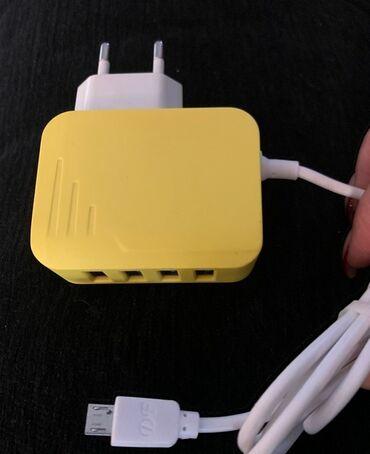 Зарядное устройство на 4USB порта, EU-micro USB, output 5V3.1A с