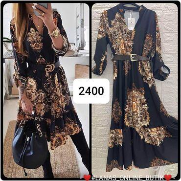 Duga haljina Crno i zlatna Sa kaisem S m l