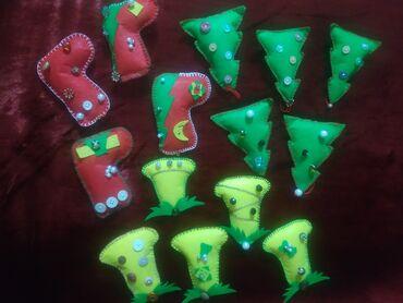 елочные игрушки в Кыргызстан: Продаю ёлочные игрушки на новый год из фетра. Также изготавливаем на з