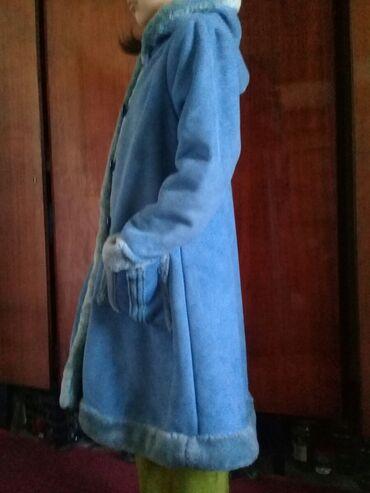 Личные вещи - Тынчтык: Продаю голубую дубленку для 9-11 лет. Дубленка свободного кроя и толст