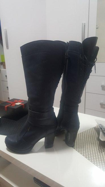 Teget plave cizme od prirodne kože. velicina 41. polovne. polovne i - Sremska Mitrovica