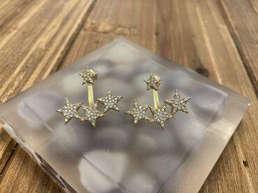 Ασημένια επιχρυσωμένα σκουλαρίκια ear jackets σε σχέδιο αστέρι με