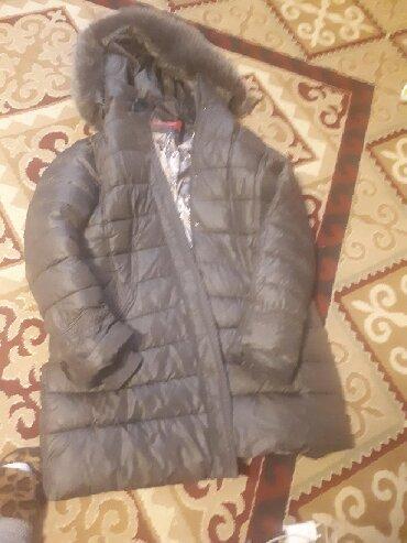 фабричные в Кыргызстан: Куртка пуховик фабричная, р.Xxxl,цвет хаки, воротник натуральный мех