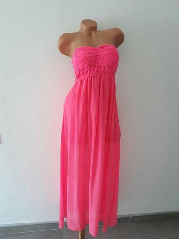 Duga roze haljina kao nova.Velicina M