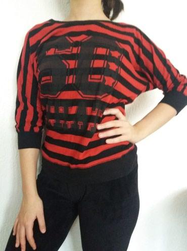 Pamucna bluzica , crno-crvene pruge , nema ostecenja vel L , mis - Kraljevo