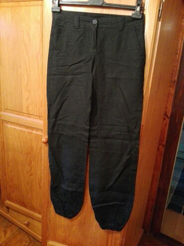 Lanene pantalone - Srbija: Lanene beneton pantalone poluobim struka 38 cm