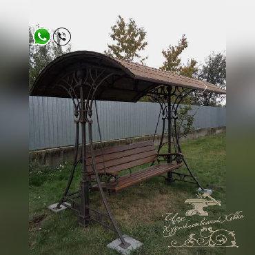 продаётся дача в Кыргызстан: КАЧЕЛИ ТАПЧАНЫ БЕСЕДКИ K-02 ♗✓ кованые качели, беседки и тапчаны✓