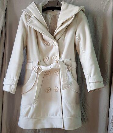 Пальто с утеплителем. Классика/спорт. Капюшон съёмный. Цвет молочный