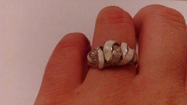 Srebro - Srbija: Srebrni prsten,nov,sa zigom 925,cirkonima i emajlom,veličina je 18mm