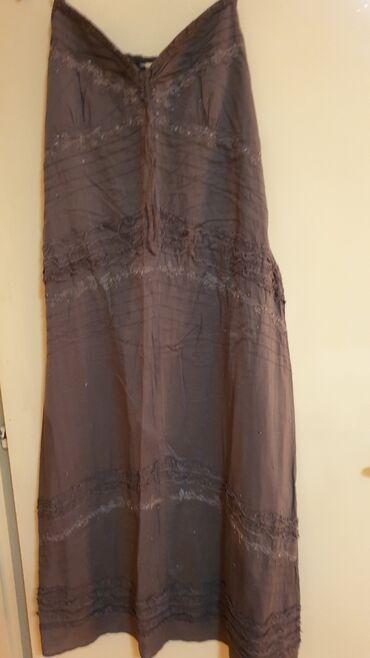 Duga leprsava haljina - Crvenka: ZARA-MASLINASTO BRAON DUGACKA HALJINA SA SLJOKUCAMA VEL S-M MADE IN
