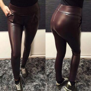 Pantalone size - Srbija: Eko koža pantalone Uni 1500din