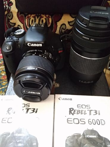 canon eos 7d в Кыргызстан: Eos rebel t3i ef-s 18-55mm is ii lens kit with ef 75-300mm f/4-5.6