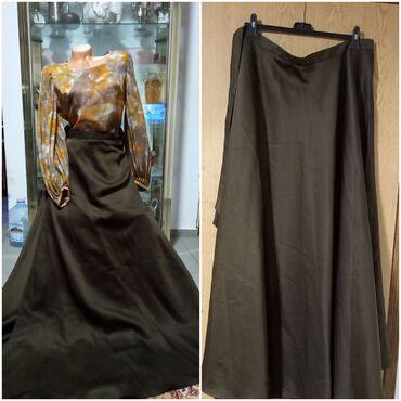 Maxi braon suknja na preklop, svečana, izuzetna, vel S/MDužina bez