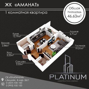 французский квартал бишкек in Кыргызстан | ПРОДАЖА КВАРТИР: Элитка, 1 комната, 45 кв. м Бронированные двери, Видеонаблюдение, Лифт