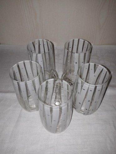 Кружки стеклянные березка, на одном есть потёртости, 5 шт
