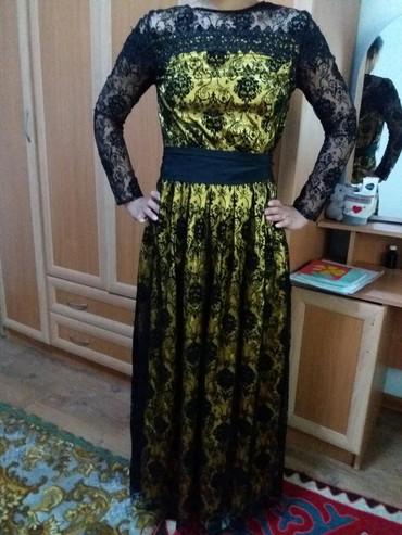 шелковое платье в пол в Кыргызстан: Платье размер 42-44-46, длина в пол, рукава гипюр, одето единожды